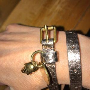 Alexander McQueen 💀 Golden Leather Wrap Bracelet